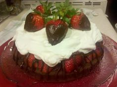 Chocolate Fudge Cake with Strawberries and Cream (All components from scratch)  [648x484] [OS, OC]