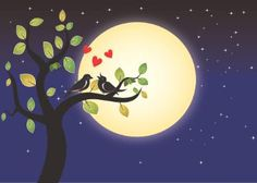 full moon night two bird loving movement - Limited Edition 1 of 1