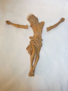 Vintage German Carved Wood Jesus #AD