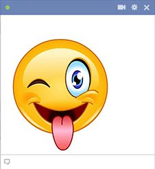 The next time you're feeling goofy or someone says something slightly insane, go ahead and share this zany smiley.