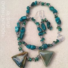 My second update for the New Year ☺ A beautiful handmade necklace and earring set made with gorgeous polymer feature beads, Miyuki seed beads, Swarovski crystals, dyed howlite beads and Bali metal spacers.