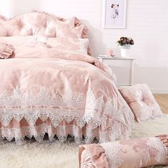 Elegant Girls Pale Pink Vintage Lace Design Gathered Ruffled Cute Style Luxury Cotton Full, Queen Size Bedding Sets