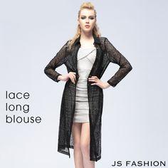クール女神・総レースブラックロングブラウス【150701】【JSファッション】【女子会】