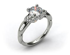 18k White Gold Swirled Pave Wrapped Engagement Ring