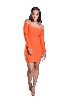'Mia' Off Shoulder Long Sleeve Bandage Dress