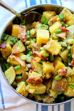 German Potato Salad with sweet potatoes, bacon, and bacon-cider dressing   theroastedroot.net #side_dish #paleo #summer #recipe