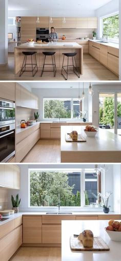 New contemporary wood kitchen cabinets sinks Ideas Kitchen Island Cabinet Layout, Kitchen Cabinets Decor, Kitchen Island With Seating, Kitchen Cabinet Design, Kitchen Layout, Kitchen Flooring, Kitchen Interior, New Kitchen, Kitchen Wood