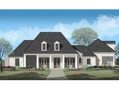 Plan Gorgeous Acadian House Plan with Separate Pool Room - This Acadian home plan offers an L-shaped footprint creating the perfect space for a bac - Acadian Homes, Acadian House Plans, French Country House Plans, European House Plans, Southern House Plans, Best House Plans, Southern Homes, Country Houses, Architectural Design House Plans
