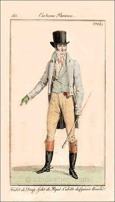 """""""Habit de drap, Gilet de Piqué, Culotte de Casimir de Bombé"""" (December 1811) - """"The boots and spurs, along with the riding crop or carriage whip indicate that this is a costume for riding or driving."""""""