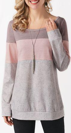 Round Neck Color Block Long Sleeve Sweatshirt