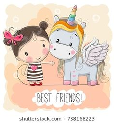 Illustration about Cute Cartoon Girl and Unicorn on a pink background. Illustration of characters, design, color - 93123102 Unicorn Art, Cute Unicorn, Cute Images, Cute Pictures, Cartoon Mignon, Unicorn Pictures, Unicorns And Mermaids, Cute Cartoon Girl, Unicorn Birthday Parties
