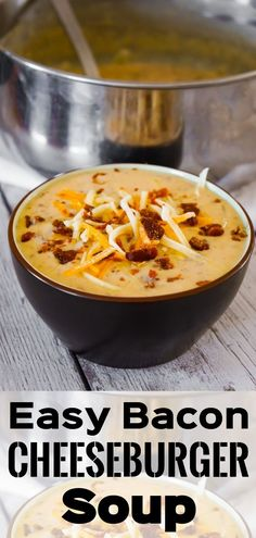 Bacon Cheeseburger Soup is a thick and creamy soup loaded with hamburger meat, crumbled bacon and cheddar cheese. Bacon Cheeseburger Soup is a thick and creamy soup loaded with hamburger meat, crumbled bacon and cheddar cheese. Quick Hamburger, Meal With Hamburger Meat, Hamburger Meat Recipes Easy, Queso Cheddar, Cheddar Cheese, Bacon Cheeseburger Dip, Slow Cooker Bacon, Diet Recipes, Cooking Recipes