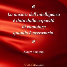 La misura dell'intelligenza è data dalla capacità di cambiare quando è necessario. (Albert Einstein)