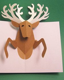 Martha and pop-up book artists Robert Sabuda and Matthew Reinhart craft a delightful reindeer pop-up card. Reindeer Pop-Up Card project (with templates) Pop Up Christmas Cards, Diy Holiday Cards, Christmas Pops, Homemade Christmas Cards, Noel Christmas, Pop Up Cards, Xmas Cards, Diy Cards, Handmade Christmas