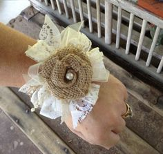 Rustic Chic Wrist Corsage / Rustic Country by DaisyDazeDesign
