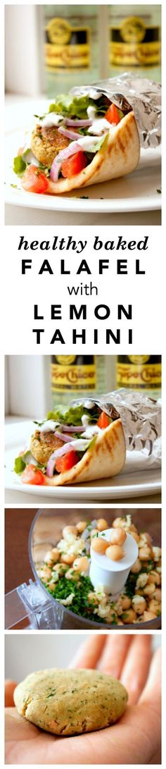 Baked Falafel Recipe with Lemon Tahini Sauce - Skip the fried version and try this lighter, healthier (but just as delicious) baked one! A vegetarian loaded sandwich made with chickpeas and only 531 calories!: