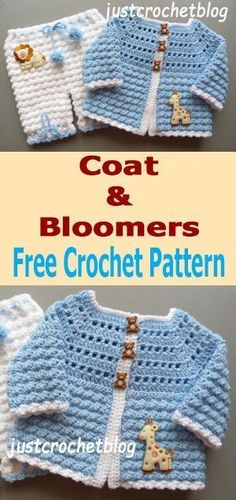 Crochet Baby Girl Free baby crochet pattern for crochet coat-bloomers from Blouse Au Crochet, Crochet Baby Cardigan Free Pattern, Crochet Baby Jacket, Crochet Baby Sweaters, Baby Sweater Patterns, Crochet Coat, Baby Girl Crochet, Crochet For Boys, Newborn Crochet