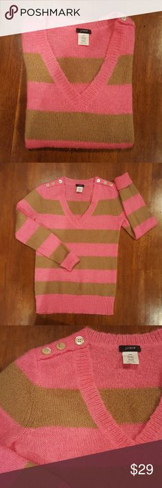 Striped wool blend sweater Bubblegum pink and camel striped sweater. V neck with long sleeves. Cuffs can be worn rolled back or left down. Three button detail on either shoulder. Acrylic/nylon/wool/mohair blend. J. Crew Sweaters