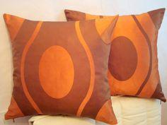 Orange geometric 18x18  pillow cover  Brown silk by SABDECO