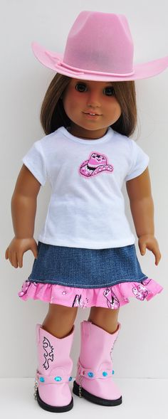 American Girl Cowgirl Outfit - Tshirt and Ruffled Denim Skirt and Hat. $36.00, via Etsy.