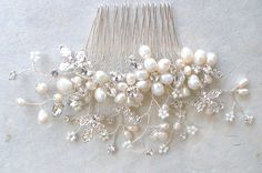 Pearl hair comb. Vintage inspired hair piece. by ShesAccessories, $87.50