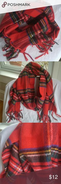 """Christian Dior Red Plaid Mens Cashmaire Scarf 10.75"""" wide 50"""" long excluding fringe 100% acrylic Lovely, soft scarf in great condition, no notable flaws Christian Dior Accessories Scarves"""