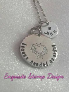Angel Wing Necklace  Hand Stamped Jewelry  by ExquisiteStampDesign