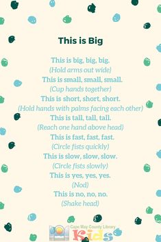 Our favorite storytime rhyme! This is a great action rhyme that the kids look forward to every week. - Education and lifestyle Opposites Preschool, Preschool Poems, Nursery Rhymes Preschool, Kindergarten Songs, Preschool Music, Preschool Learning, Preschool Activities, Spring Preschool Songs, Kids Poems