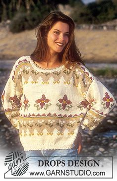 """DROPS 38-12 - DROPS jumper with floral border in """"Paris"""". - Free pattern by DROPS Design"""