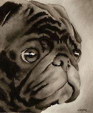 BLACK PUG Watercolor Dog ART Signed by Artist DJR