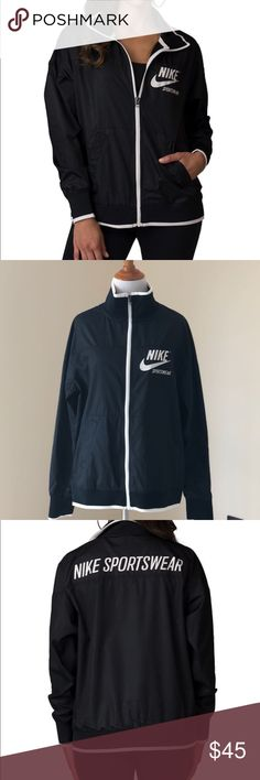 NWT🖤Nike sportswear jacket Brand new with tags, price is firm! A classic, retro style updated with modern features, the Nike® Sportswear Jacket is constructed with water-resistant woven fabric with a stand-up collar and full-zip design to keep you covered from the gym to the game and everywhere in between. FEATURES: Full-zip track jacket Woven fabric has a water-resistant finish Relaxed fit loosely drapes the body Striped detail on neckline, cuffs and hem Nike Jackets & Coats Blazers