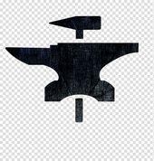 Blacksmith Forge Logo Anvil Forging, strength building transparent background PN...