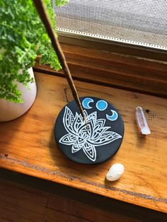 Handmade Painted Clay Incense Holder  Lotus  by andigniteBoutique