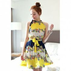 $11.47 Vintage Floral Print Sleeveless Pleated Dress For Women