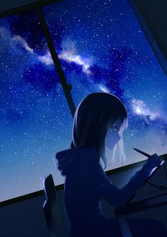 Artist Aちき #Art #AnimeArt #AnimeGirl #StarSky