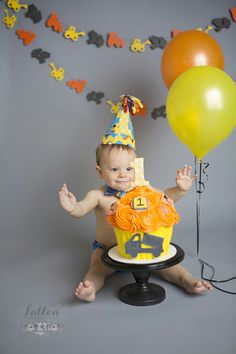 Construction truck, yellow, white, black and gray themed extra large cupcake, 1st birthday cake smash