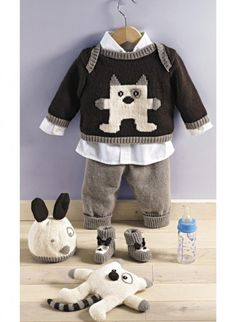 - 345 Pull, pantalon, bonnet et chaussons. Crochet For Boys, Knitting For Kids, Baby Knitting Patterns, Crochet Baby, Knit Crochet, Baby Vest, Baby Pants, Baby Outfits, Kid Outfits