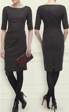 LK Bennett Lotty Dress The LK Bennett Lotty Dress is a wool blend fitted dress with elbow length sleeves and a slash neckline. The dress features asymmetrical architectural seams and falls to just … Corporate Wear, Work Fashion, Modest Fashion, Lawyer Outfit, Lk Bennett, Professional Wear, Elegantes Outfit, Fashion Catalogue, Event Dresses