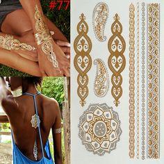 Gold Leaf Metallic Tattoo //Price: $5.95 & FREE Shipping //     #tattoodesigns