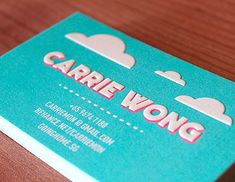 Personal Namecard by Carrie Wong, via Behance Cute Business Cards, Business Card Maker, Business Card Design, Creative Business, Name Card Design, Behance, Packaging, Name Cards, Branding Design