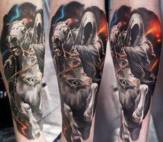 Awesome realistic 3 colors tattoo of Lord of the Rings (Nazgul) motive done by artist Sasha O Kharin Hobbit Tattoo, Lotr Tattoo, Blackout Tattoo, Earth Tattoo, World Tattoo, Celtic Tattoos For Men, Tattoos For Guys, Tattoo Sleeve Designs, Sleeve Tattoos