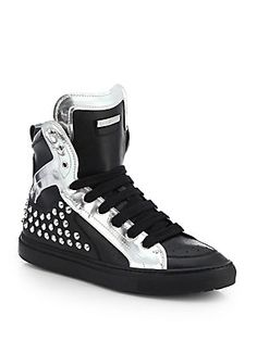 DSQUARED Studded Leather High-Top Sneakers
