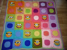 crochet minion blanket, granny square minion blanket pattern, colourful minion afghan, baby minion crochet, afghan