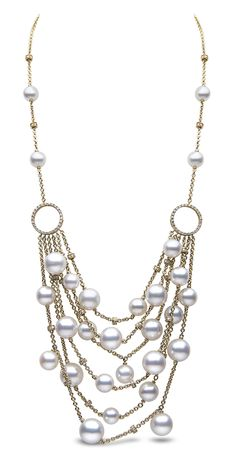 Bib necklace in 18k gold with South Sea pearls and 2.14 cts. t.w. diamonds, $35,000; Yoko London