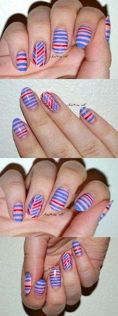 New nails design summer diy color combos Ideas French Manicure Designs, New Nail Designs, Nails Design, Nail Art Stripes, Striped Nails, Trendy Nail Art, Cool Nail Art, Striped Nail Designs, Super Nails