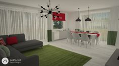 Livingroom with Dining design by Anita Ilie Casa Patrata Curtains, Dining, Living Room, Interior Design, Projects, Home Decor, Houses, Nest Design, Log Projects