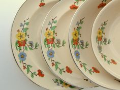 Rare Art Deco Dinnerware Set - 1930s Floral Umbertone by Leigh Potters, 18 Pieces - RESERVED for Nancy