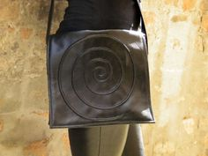 Black Faux leather spiral bag Black leatherette by FiMachine