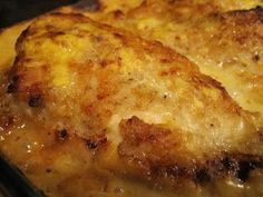 Mom's Butter Baked Chicken-Here's what you'll need for 4 servings: 4 chicken breasts (I use boneless skinless) 1 can evaporated milk 1 cup flour 1 1/2 teaspoon salt1/8 teaspoon pepper 1/4 cup butter 1 can Cream of Chicken soup 1/4 cup water