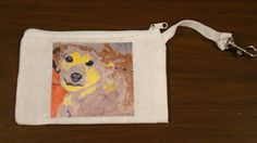 Dog purse Custom Pet Portrait Handmade fabric white wristlet D. Pia. original art Dog by DPiaOriginalArtWork on Etsy https://www.etsy.com/listing/205786783/dog-purse-custom-pet-portrait-handmade